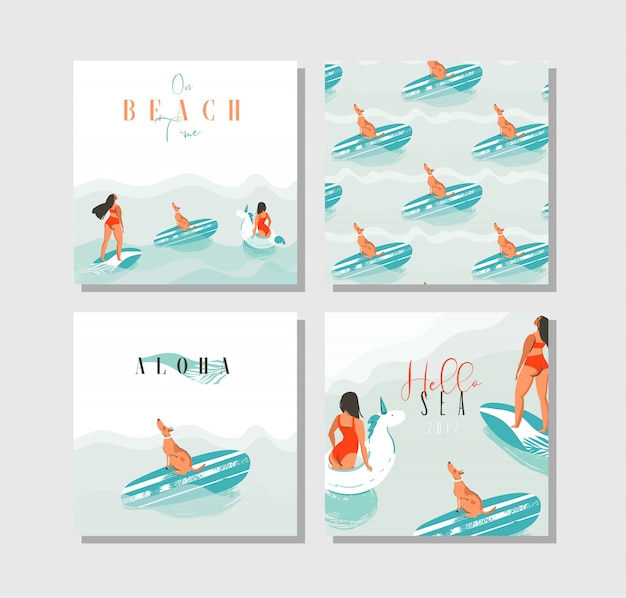 Hand drawn  abstract exotic summer time funny cards set collection template with surfer girls, unicorn float,surfboard and dog on on blue ocean waves water