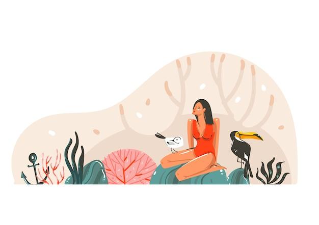 手は、白い背景で隔離のビーチシーンで水着ビキニの若い、幸せな美しさの女性と抽象的なフラットグラフィックイラストを描いた。