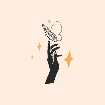 Hand drawn   abstract  flat illustration ,magic line art of butterfly