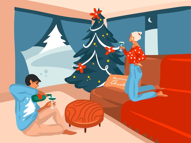 Ручной обращается абстрактный плоский с рождеством