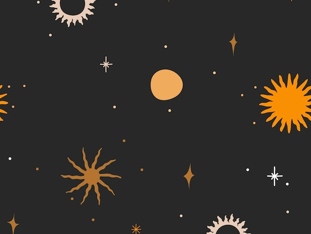 Hand drawn abstract flat stock graphic icon illustration sketch seamless pattern with celestial moon,sun and stars, mystic and simple collage shapes isolated on black background.