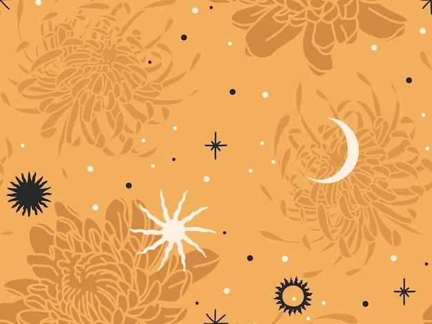 手描きの抽象的なフラットストックグラフィックアイコンイラストは、菊の花、神秘的な神秘的な月、太陽、色の背景に分離されたシンプルなコラージュの形でシームレスなパターンをスケッチします。