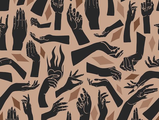 手描きの抽象的なフラットストックグラフィックアイコンイラストスケッチ人間の神秘的な神秘的なオカルトの手と色の背景に分離された形状のコラージュのシームレスなパターン