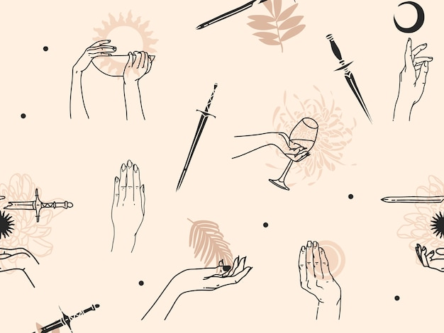 Hand drawn abstract flat stock graphic icon illustration sketch seamless pattern with human, mystic occult hands and simple collage shapes isolated on color background.