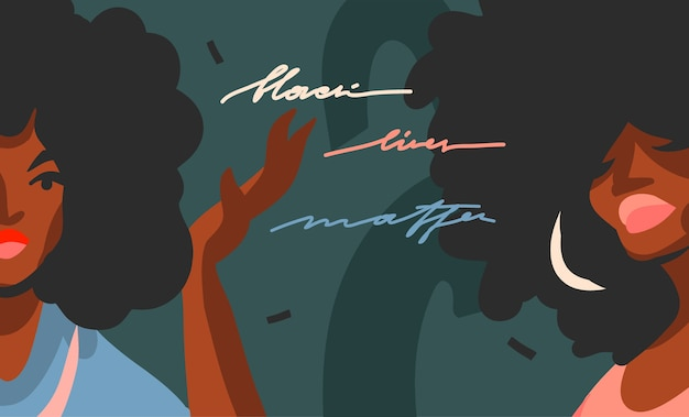 Hand drawn abstract flat stock graphic illustration with young black afro american beauty women,and black lives matter handwritten lettering concept isolated on color collage shape background.