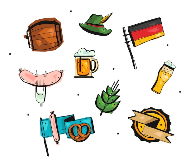 Hand drawn  abstract freehand oktoberfest icons set.