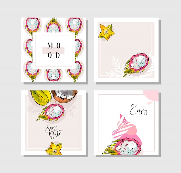 Hand drawn  abstract freehand textured unusual tropical save the date cards set collection with palm leaves,dragon fruit,coconut and carambola in bright colors  on white background.