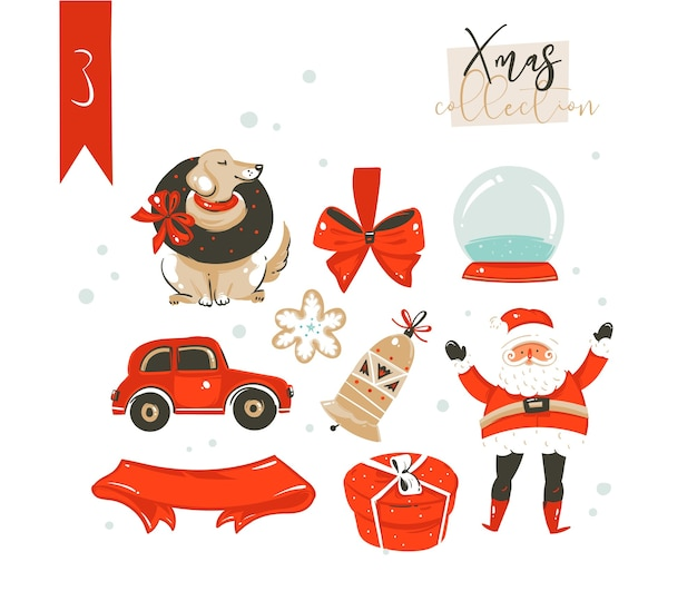 Ручной обращается абстрактные забавные мультяшные классические иллюстрации с рождеством