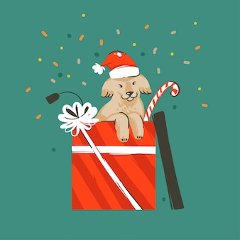 手描き抽象楽しいメリークリスマスと新年あけましておめでとうございます時間漫画イラストグリーティングカードクリスマスかわいい面白い犬のギフトボックスと緑の背景の紙吹雪