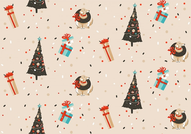 손으로 그린 추상 재미 메리 크리스마스와 새 해 복 많이 받으세요 시간 만화 소박한 축제 원활한 패턴 파스텔 배경에 크리스마스 트리와 강아지의 귀여운 삽화와 함께.