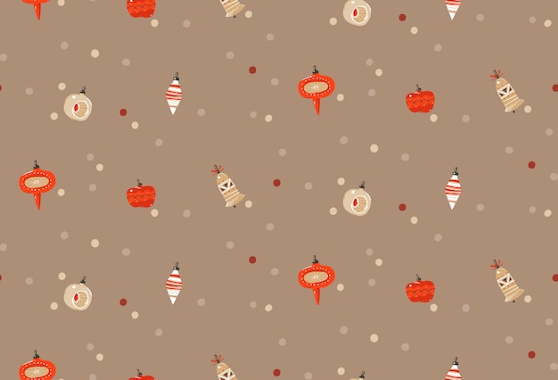 手描き抽象楽しいメリークリスマスと新年あけましておめでとうございます時間漫画パステル背景にクリスマスツリーのおもちゃ電球ガーランドのかわいいイラストが素朴なお祭りのシームレスパターン。 Premiumベクター