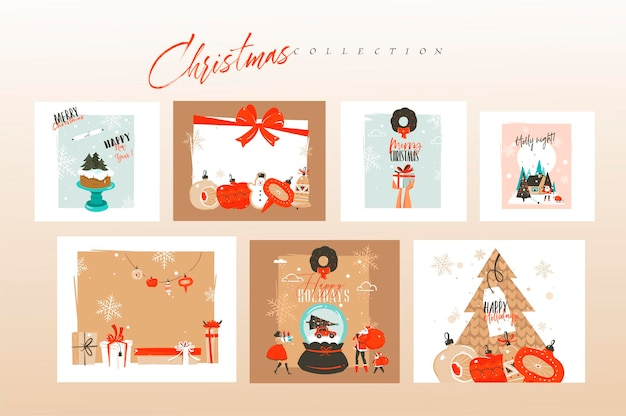 Hand drawn abstract fun merry christmas, and happy new year time cartoon cards bundle set