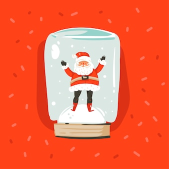 Hand drawn  abstract fun merry christmas and happy new year time cartoon illustration greeting card with santa claus character in snow globe sphere  on red background.