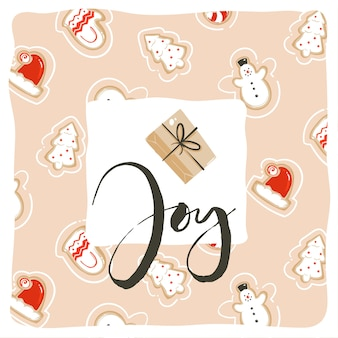 Hand drawn abstract fun merry christmas time cartoon card template design with cute illustrations,gingerbread cookies and handwritten modern calligraphy joy isolated on white background.