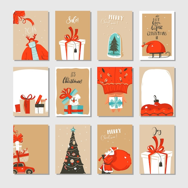 Hand drawn abstract fun merry christmas time cartoon cards collection set with cute illustrations isolated on craft paper
