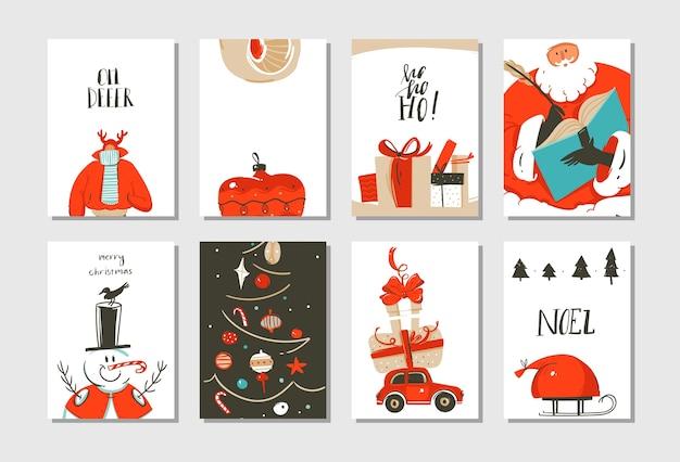 手描きの抽象的な楽しいメリークリスマス時間漫画カードコレクションセットかわいいイラスト、サプライズギフトボックス、クリスマスツリーと白い背景で隔離のモダンな書道。