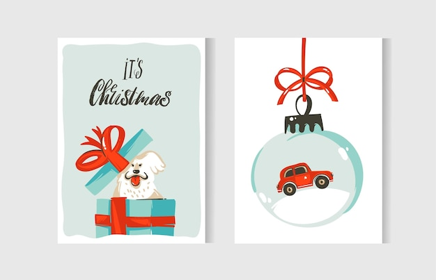 Hand drawn abstract fun merry christmas time cartoon cards collection set with cute illustrations,surprise gift boxes,dogs and handwritten modern calligraphy text isolated on white background.