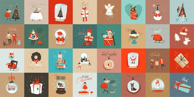 Hand drawn abstract fun merry christmas time cartoon cards collection set with cute illustrations,surprise gift boxes and handwritten modern calligraphy text isolated on colored background.