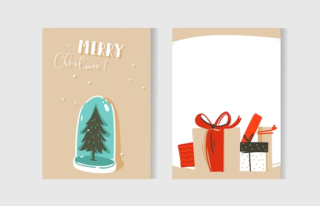 Hand drawn abstract fun merry christmas time cartoon cards collection set with illustrations,surprise gift boxes,xmas tree snow ball bulb and modern calligraphy isolated on white background.