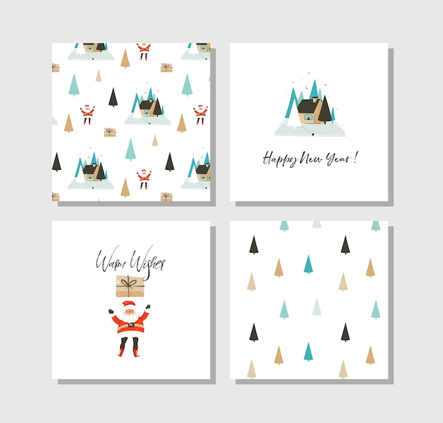 Hand drawn abstract fun merry christmas time cartoon cards collection set