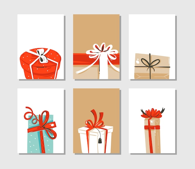 Hand drawn abstract fun merry christmas time cartoon cards or tags collection set with cute illustrations of surprise gift boxes isolated on craft paper background.