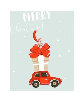 Нарисованная рукой абстрактная забавная карточка иллюстрации шаржа времени рождества с большой красной игрушкой автомобиля и подарочной коробкой большого сюрприза на синем фоне.