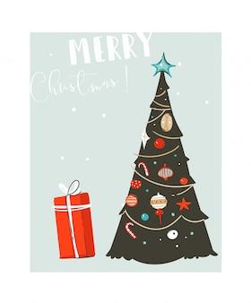手描き抽象楽しいメリークリスマス時間漫画イラストカードクリスマスツリーと青の背景にクリスマス驚きのギフトボックス。