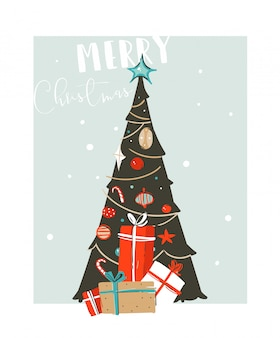 Hand drawn  abstract fun merry christmas time cartoon illustration card with xmas tree and christmas surprise gift boxes  on blue background.