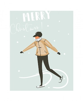 Hand drawn  abstract fun merry christmas time cartoon illustration card with young boy skating on ice  on blue background.
