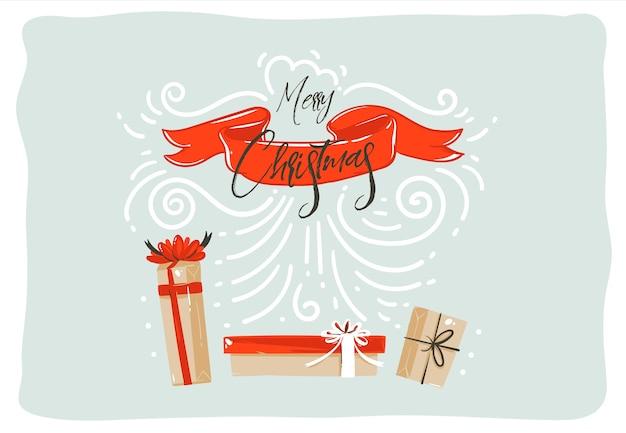 手描きの抽象的な楽しいメリークリスマス時間漫画イラストカード
