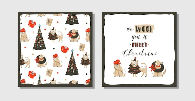 Hand drawn abstract fun merry christmas time cartoon illustration cards collection set with many pet dogs in holidays costume and xmas trees isolated on white background.
