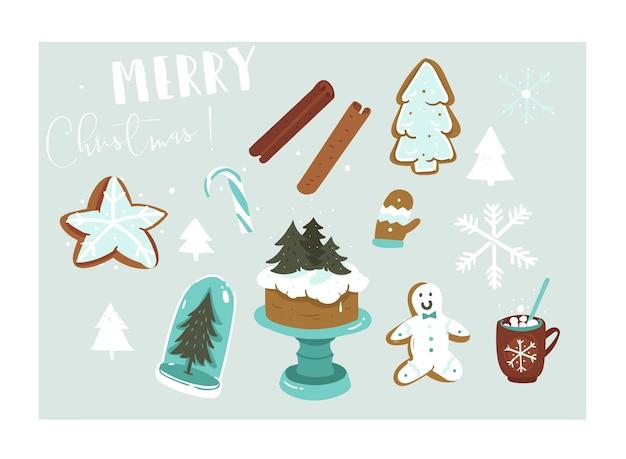 Рисованной абстрактные развлечения веселого рождества мультфильм иллюстрации набор с множеством элементов декора, изолированных на синем фоне.