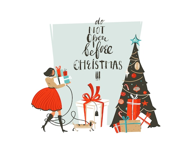 Hand drawn abstract fun merry christmas time cartoon illustration greeting card with girl,dog,surprise gift boxes,christmas tree and modern handwritten calligraphy isolated on white background.