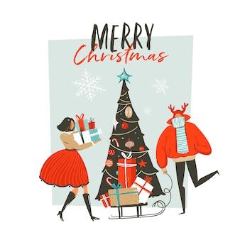 手描き抽象楽しい人々、驚きのギフトボックス、クリスマスツリー、白い背景で隔離のクリスマス書道のグループとメリークリスマス時間漫画イラストグリーティングカード。