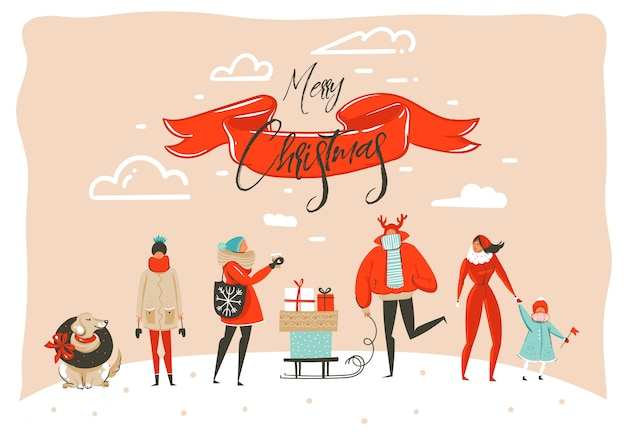Hand drawn abstract fun merry christmas time cartoon illustration greeting card with group of people in winter clothing isolated on craft background