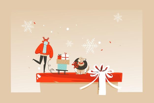 Нарисованная рукой абстрактная забавная поздравительная открытка иллюстрации шаржа времени счастливого рождества со счастливыми людьми рынка xmas, собакой изолированной на предпосылке корабля.