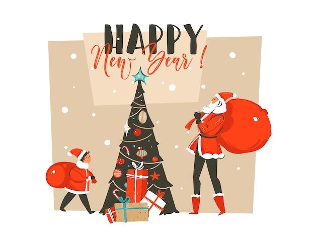 손으로 그린 추상 재미 산타 클로스와 함께 메리 크리스마스 시간 만화 그림 인사말 카드