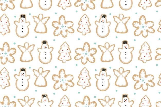 手描きの抽象的な楽しいメリークリスマスの時間の漫画イラスト白い背景で隔離の焼きジンジャーブレッドクッキーとシームレスなパターン。
