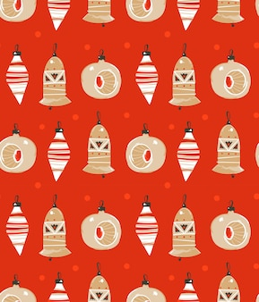 Hand drawn  abstract fun merry christmas time cartoon illustration seamless pattern with christmas tree toys  on red background.