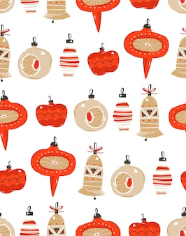 Hand drawn  abstract fun merry christmas time cartoon illustration seamless pattern with christmas vintage tree toys  on white background.