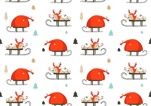 Hand drawn abstract fun merry christmas time cartoon illustration seamless pattern