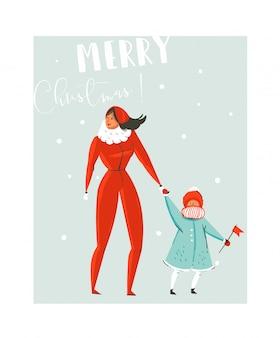 Нарисованная рукой абстрактная забавная иллюстрация шаржа времени счастливого рождества установлена с матерью и дочерью семьи, идущей в зимней одежде на синем фоне.