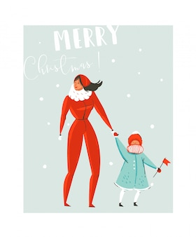 Hand drawn  abstract fun merry christmas time cartoon illustration set with family mother and daughter walking in winter clothing  on blue background.