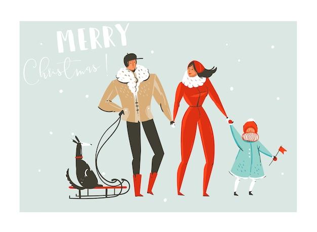 Нарисованная рукой абстрактная забавная иллюстрация шаржа счастливого времени рождества установлена с семьей, идущей в зимней одежде и собаке на санях, изолированных на синем фоне.