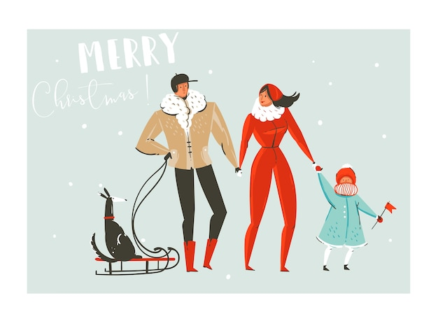 Hand drawn abstract fun merry christmas time cartoon illustration set with family walking in winter clothing and dog on sleigh isolated on blue background.