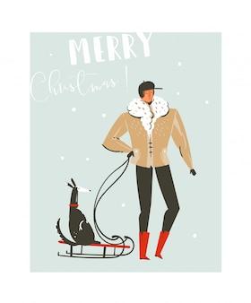 Нарисованная рукой абстрактная забавная иллюстрация шаржа времени рождества установила с отцом, идущим в зимней одежде с собакой на санях на синем фоне.