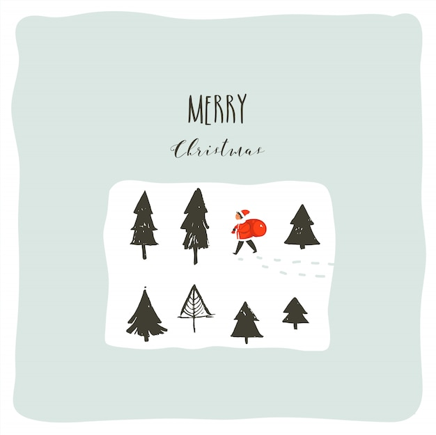 Hand drawn abstract fun merry christmas time cartoon illustration with young little boy in santa clasus costume walkin in pine frozen forest isolated on white background