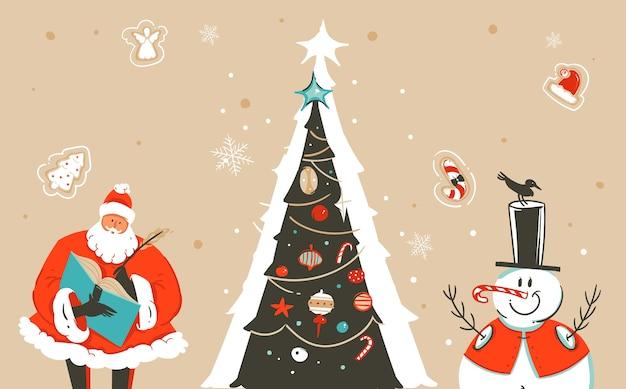 Нарисованная рукой абстрактная забавная иллюстрация шаржа счастливого рождества