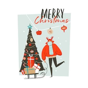 手描き抽象楽しいメリークリスマス時間漫画イラスト