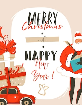 Hand drawn abstract fun merry christmas time cartoon illustration